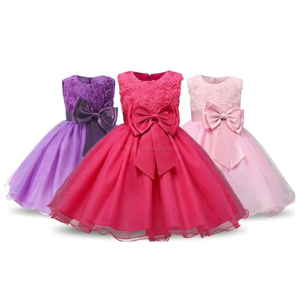 00c0ea0265f3 Girls Floral Ball Gown Solid Sleeveless Evening Dress With Matching Bow
