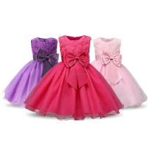 Girls-Floral-Ball-Gown-Solid-Sleeveless-Evening-Dress-With-Matching-Bow