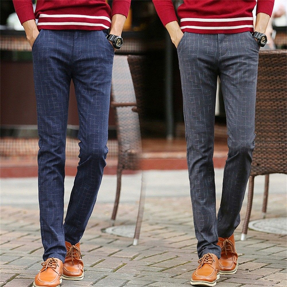 Mens Slim Fit Pants Causal Straight Plaid Cotton Trousers