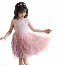 Childrens-Lace-Ball-Gown-Cute-Round-Neck-Sleeveless-Mesh-Dress