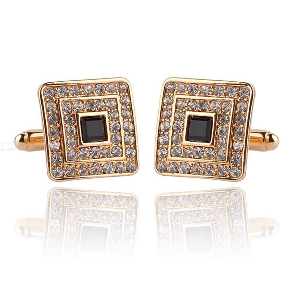 Men French Shirt Cufflinks Square Diamond-studded Cufflinks Rhinestone Cuff Button