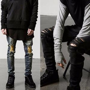 Mens Stylish Ripped Jeans Casual Solid Slim Fit Tapered Leg Pants
