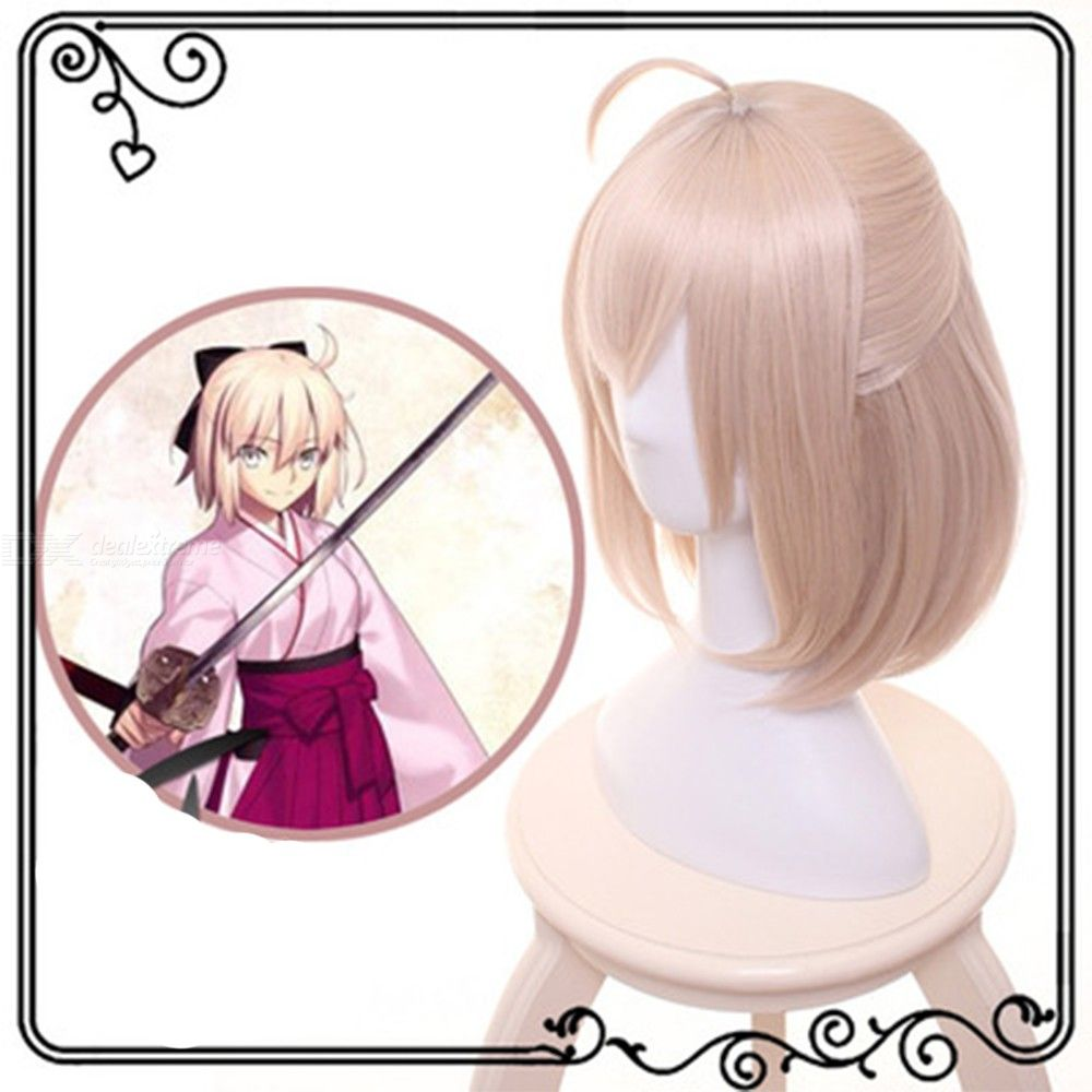 Okita Souji Cosplay Wig Saber In Fate Character Costume Hair