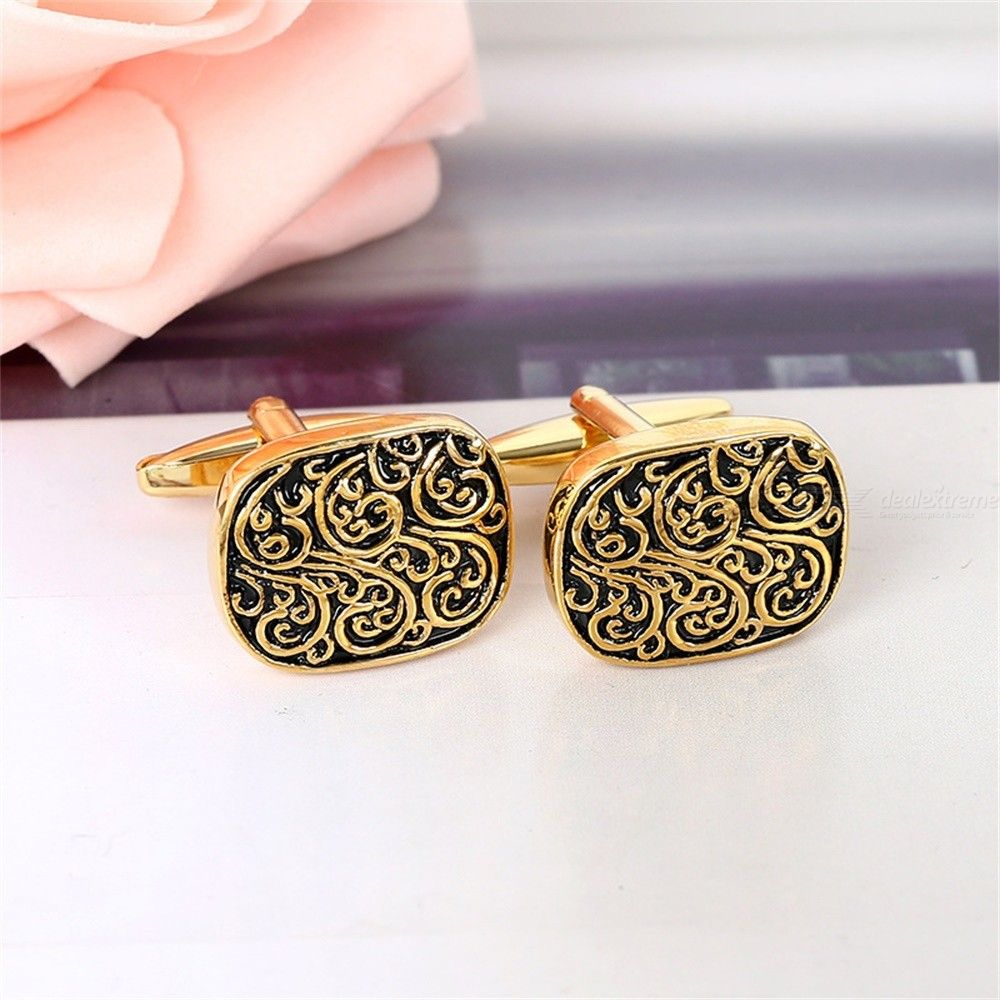 Mens French Shirt Cufflinks Roman Pattern Classic Carved Dress Wedding Party