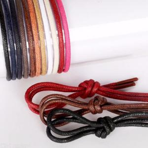 1Pair Waxed Cotton Round Shoe Laces Leather Waterproof ShoeLaces Martin Boots Shoestring