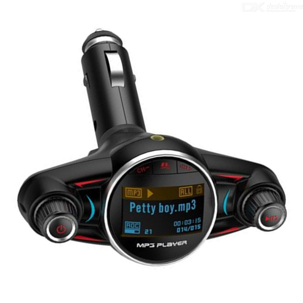 Quelima BT08 2.Big Eyes Double Head FM Car Bluetooth MP3 Double Knob Cool Light Big Screen Display Voltage