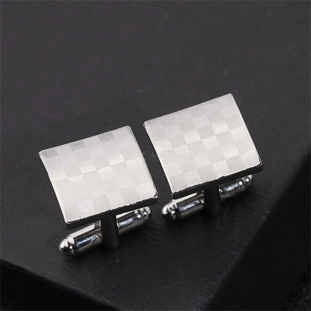 Luxury Laser Engraved Plaid Design Cufflinks Fashion Square Cuff Buttons For Men
