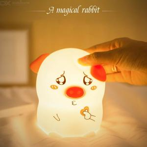 LED Night Lights Cute Pig Silicone Soft Cartoon Lamp Bedroom Atmosphere Night Lamp