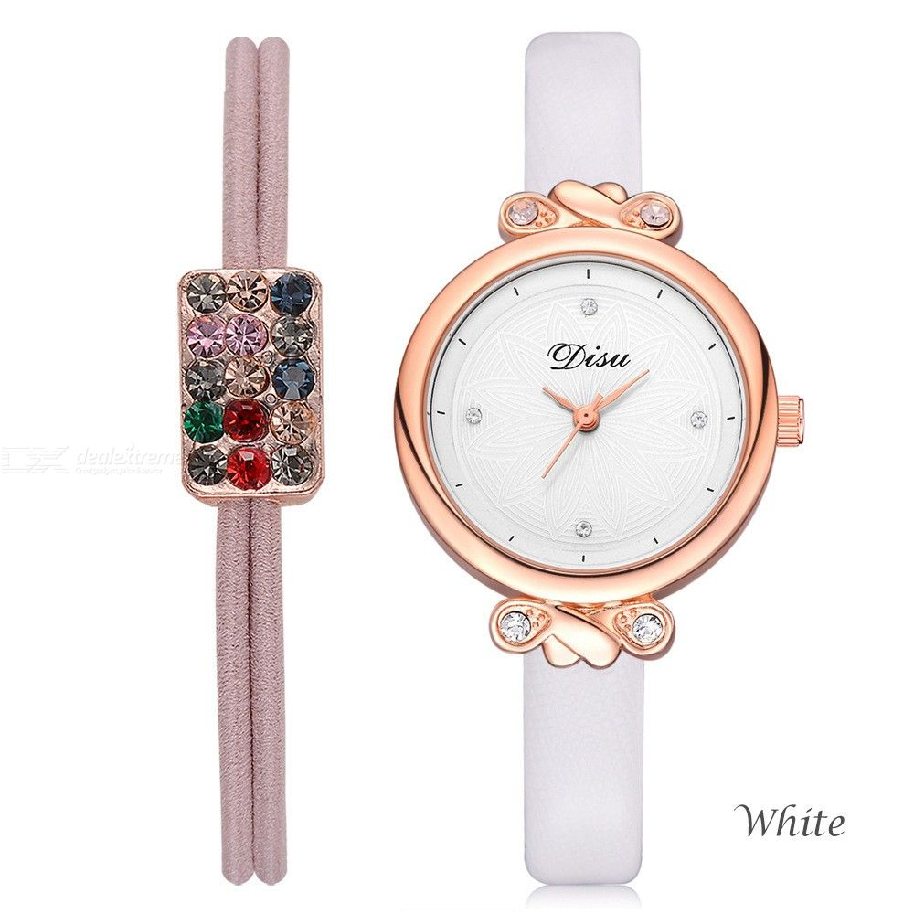 2Pcs/Set Quartz Wristwatches Diamond Bracelet Leather Band Watch For Women