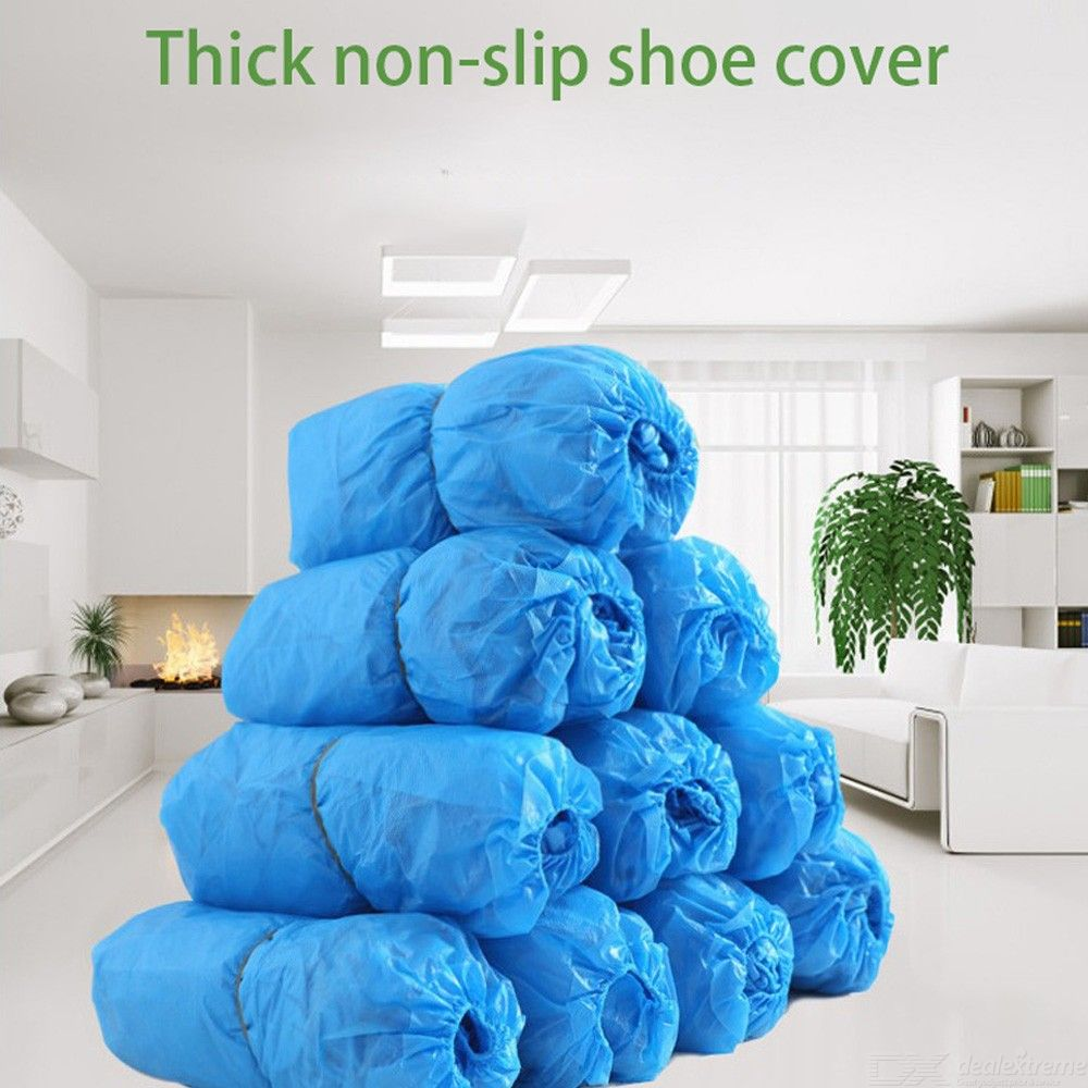 100 Pcs/Bag Waterproof Thicken Boot Covers Plastic Disposable Overshoes Rain Shoes Covers - Blue