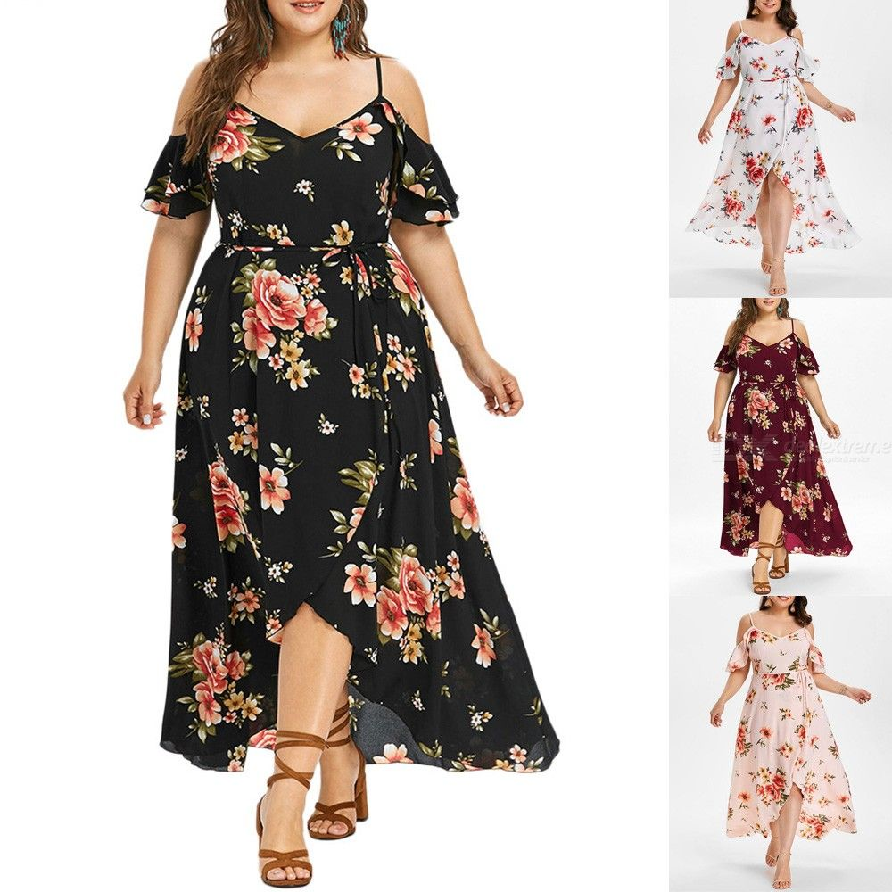 Summer Plus Size Dress Floral Print Spaghetti Strap Half Sleeves Beach Dresses For Women