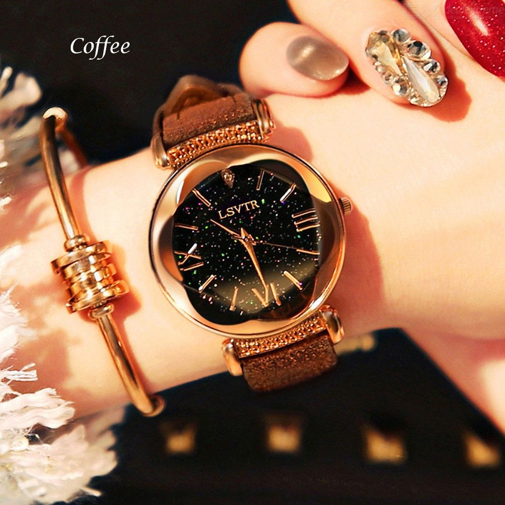2Pcs/Set Quartz Wristwatches Starry Sky Diamond Bracelet Leather Band Watch For Women