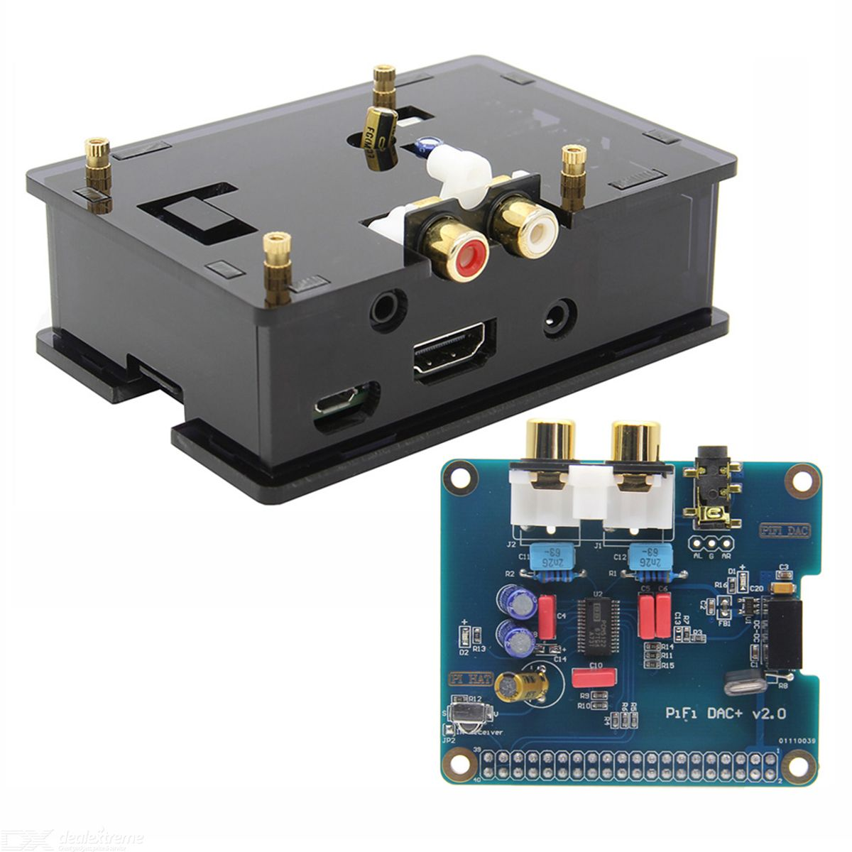 PiFi HIFI DAC+ Audio Card Pinboard  /  Case for Raspberry Pi 2