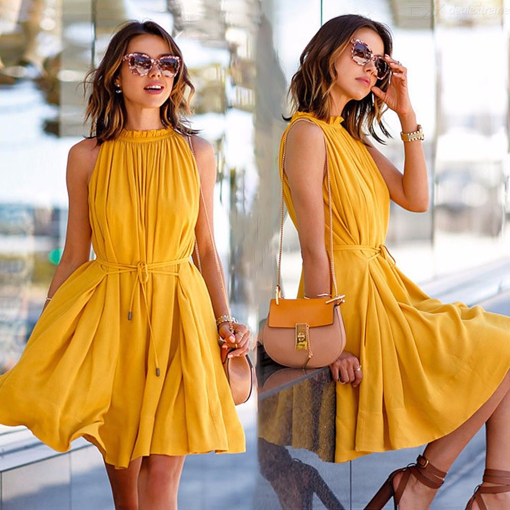 Womens Ruffled Dress Solid Stand Collar Sleeveless Dress With Ruched Hem