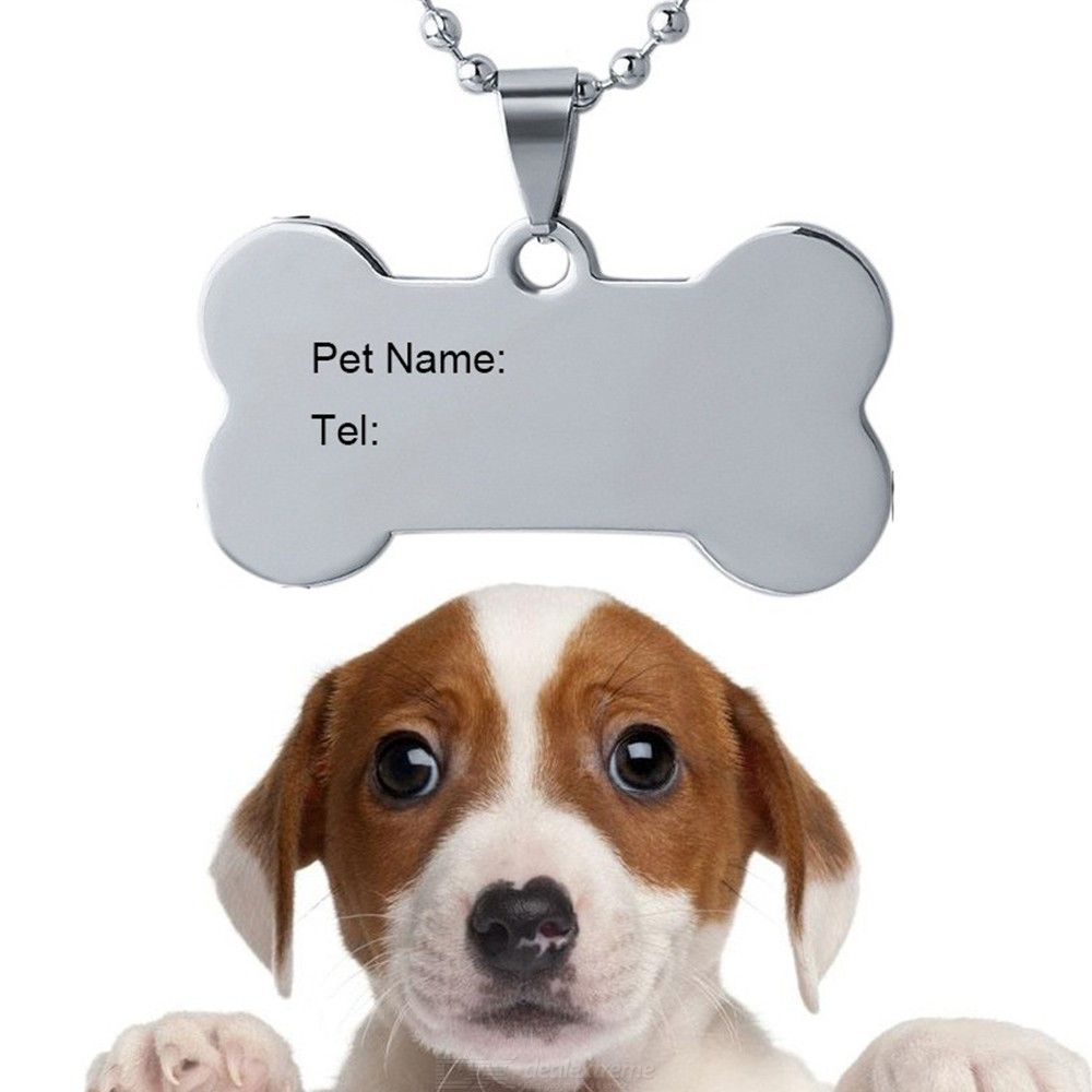 Engrave Logo Identification Tag Stainless Steel Dog Pet ID Name Tel Tag Laser Necklace