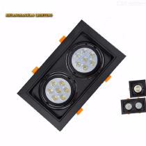 Rectangular-LED-Grille-Lamp-Double-head-Recessed-Downlight-Fixture
