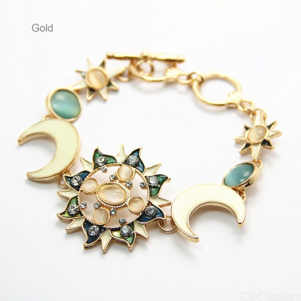 Sun Moon Star Pendant Bracelet Gem Charm Hand Chain Creative Jewelry For Women