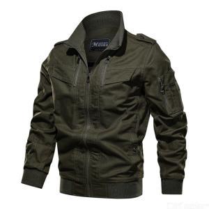 Men's Daily Military Fall / Winter Regular Jacket Solid Colored Stand Neckline Long Sleeve Cotton