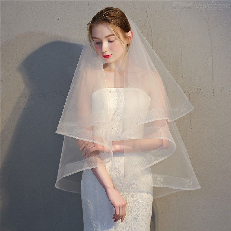 Elegant Two-Layer Tulle Lace Bridal Veil With Comb For Bride Wedding Accessories