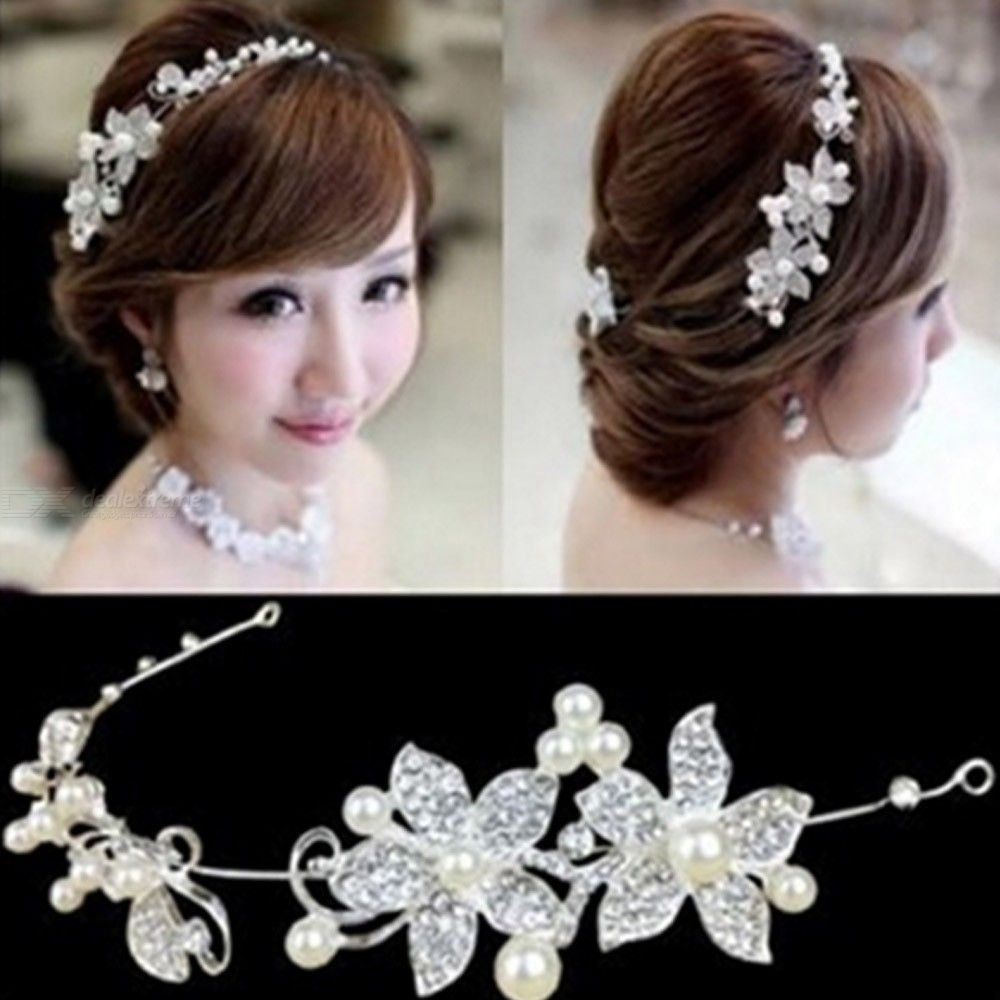 Handmade Flowers Headband White Beads Brides Hair Bands Wedding Decorations