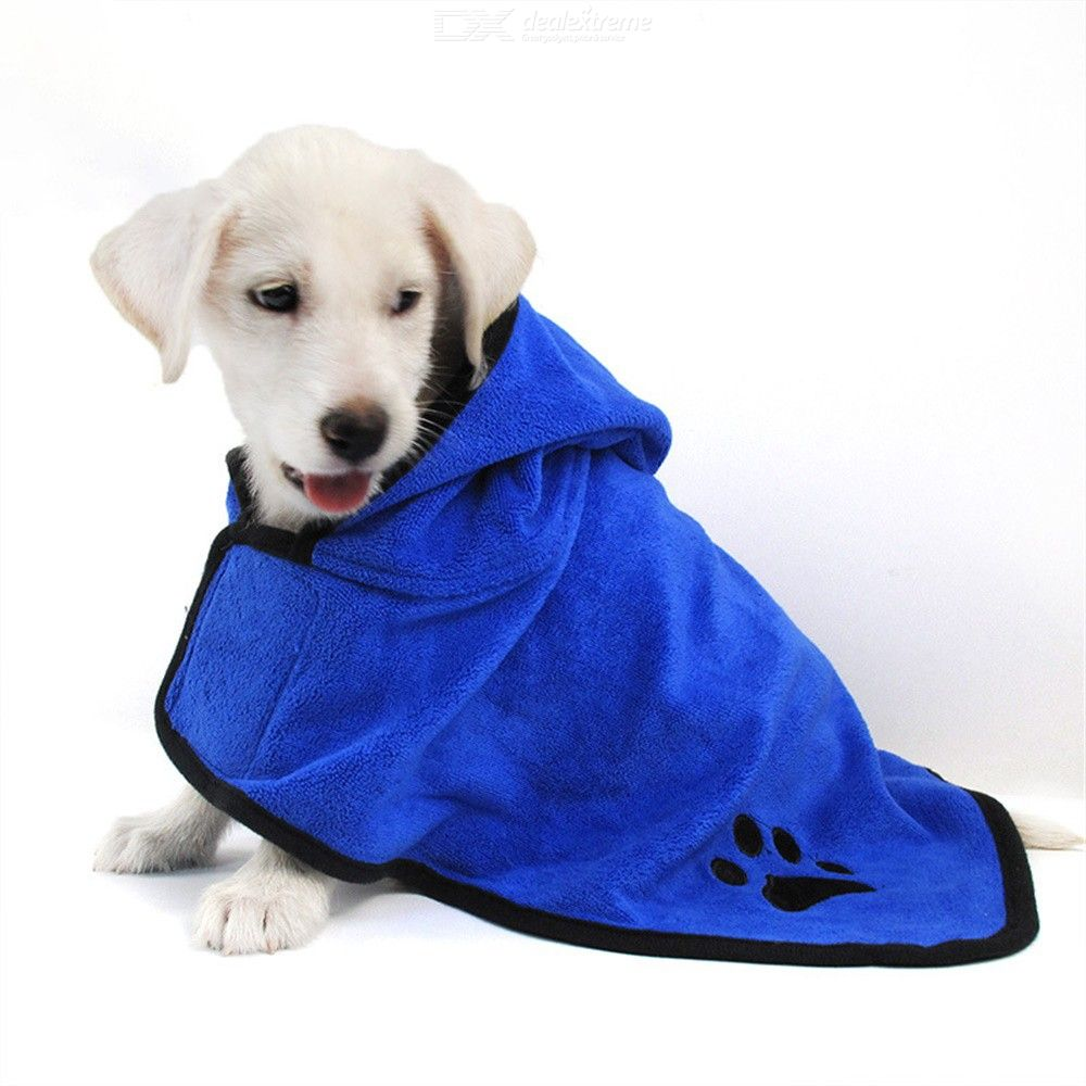 Dog Bathrobe Super Absorbent Pet Drying Towel Embroidery Paw Hood Pet Product