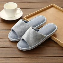 Casual-Linen-Striped-Flat-Shoes-Cotton-Couple-Indoor-Slippers-Sandals