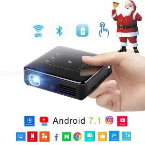 150 ANSI Lumens Projetor DLP Android 7.1 Bluetooth 4.0 Mini Projetor Full HD 4 K Para Home Theater 300 Polegada Beamer