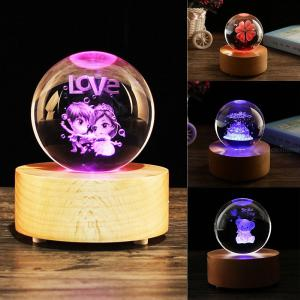 Light Effect Changeable Valentine Crystal Ball Musical Light Gift Personalized Romantic Lovers Valentines