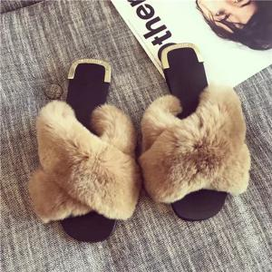 Fluffy Woman Slipers Flat Slippers Fur Slides Women Footwear Furry Dames Ladies Fuzzy Plush Sandals