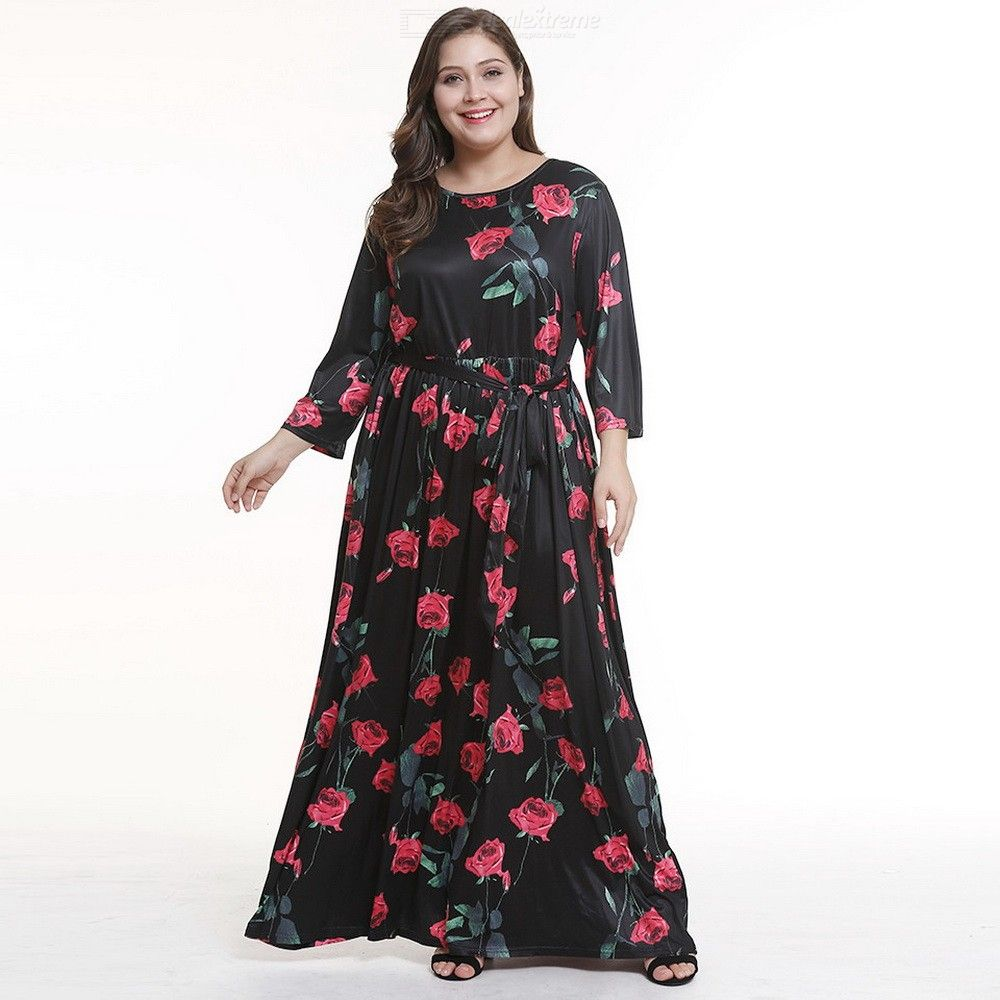 Summer Maxi Dress Plus Size O-Neck Floral Print A-Line Dresses For Women