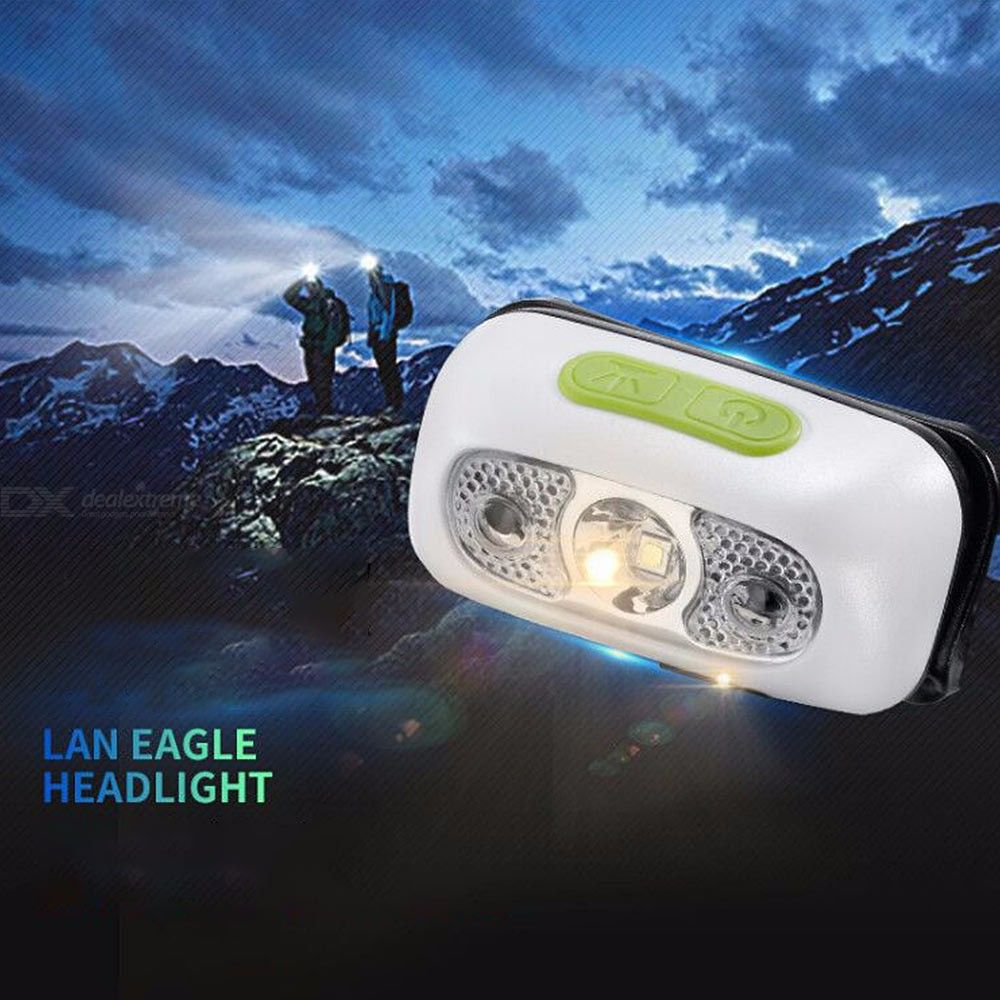 LED Headlamps USB Rechargeable IPX5 Waterproof Sensor Lamp For Camping Hiking
