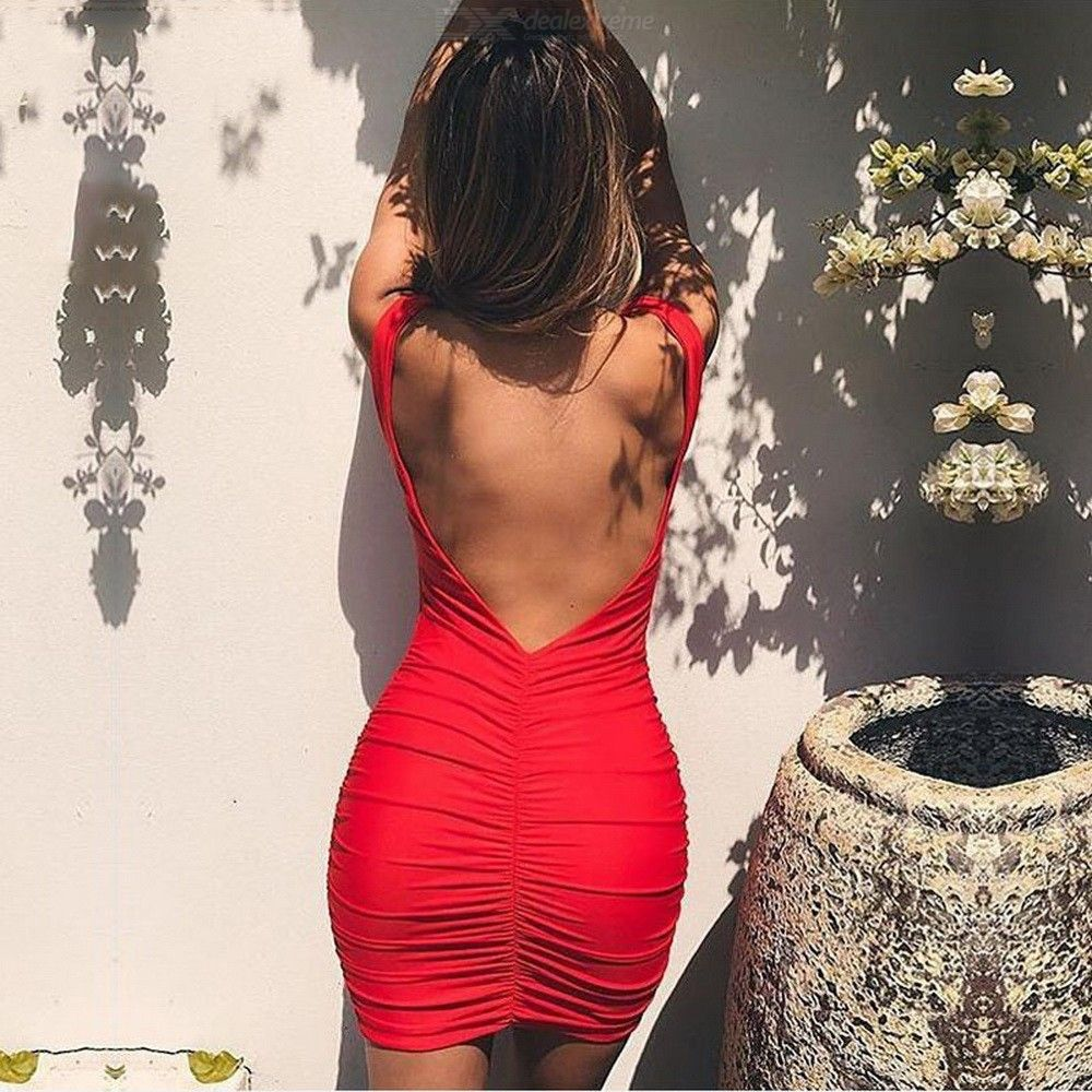 Summer V Neck Dress Sleeveless Backless Sexy Club Party Mini Wrinkled Dresses For Women