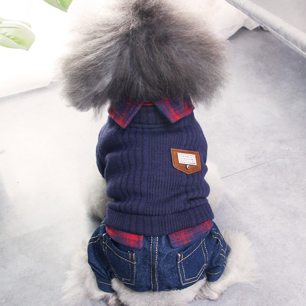 Winter Warm Clothes For Small Dogs Jean Jumpsuit Chihuahua Puppy Rompers Pet Costume