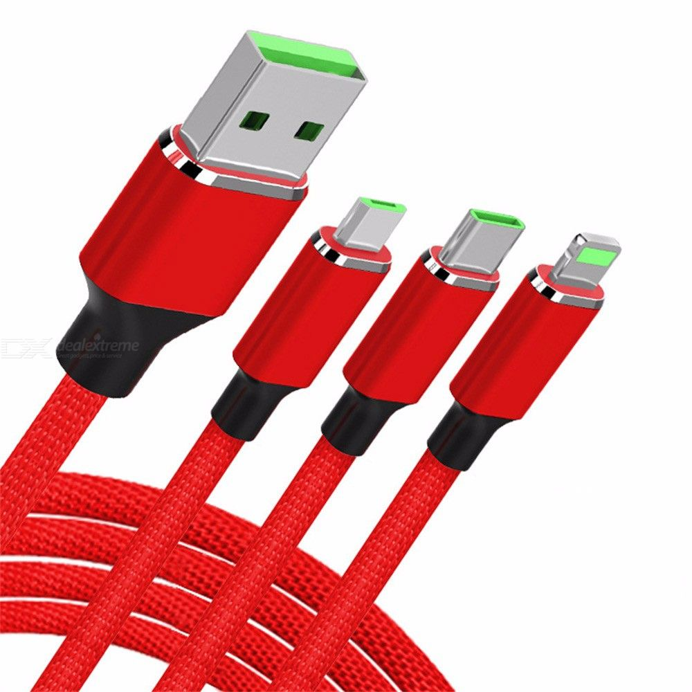 3-in-1 Braided Charging Cord Lightning Type-C Micro USB Charger And Syncing Cable