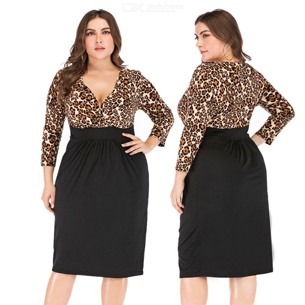 Sexy Leopard Patchwork Dress V-Neck Casual Plus Size Knee-Length Dresses For Women