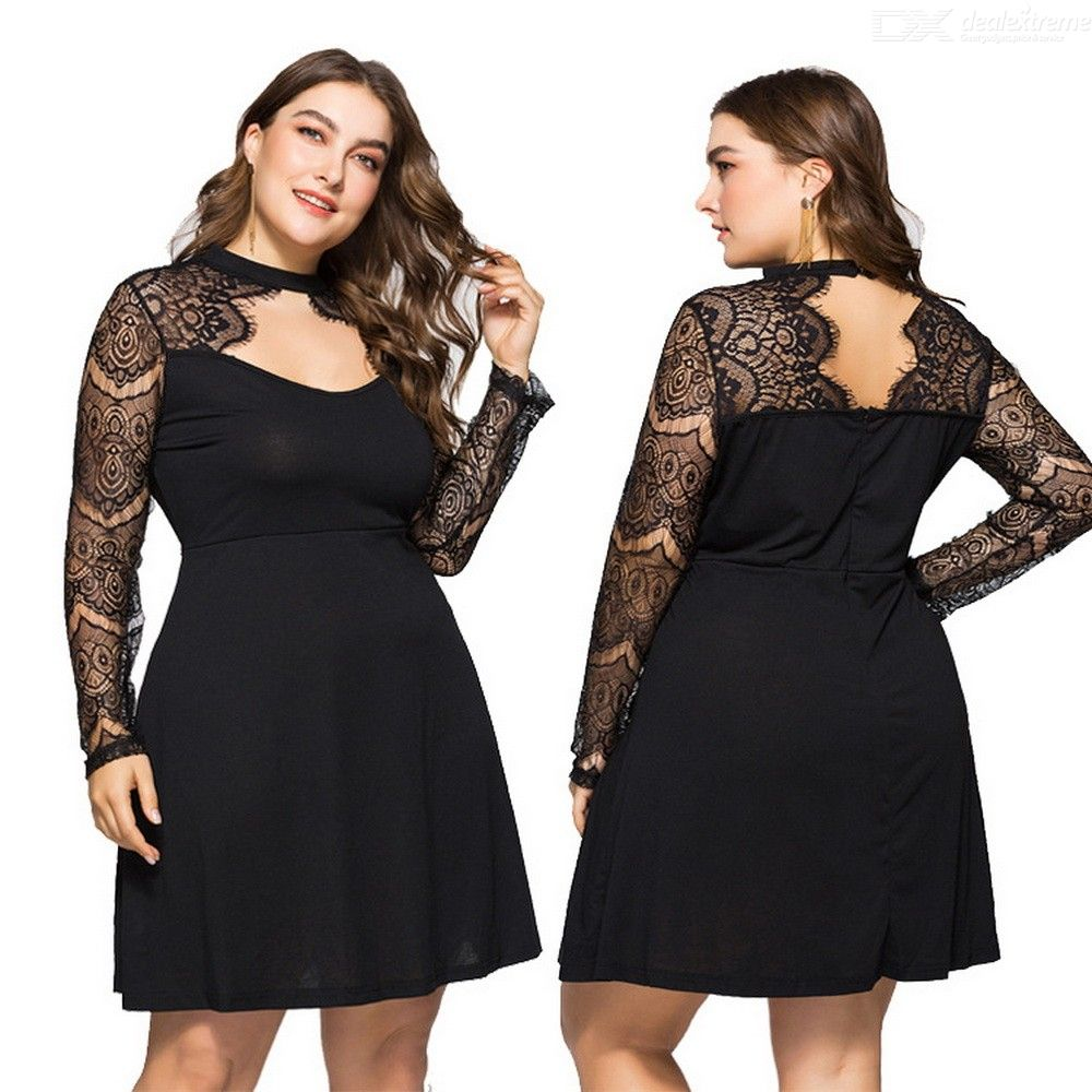 Long Sleeve Dress Sexy Lace Hollow Patchwork Plus Size Dresses For Women