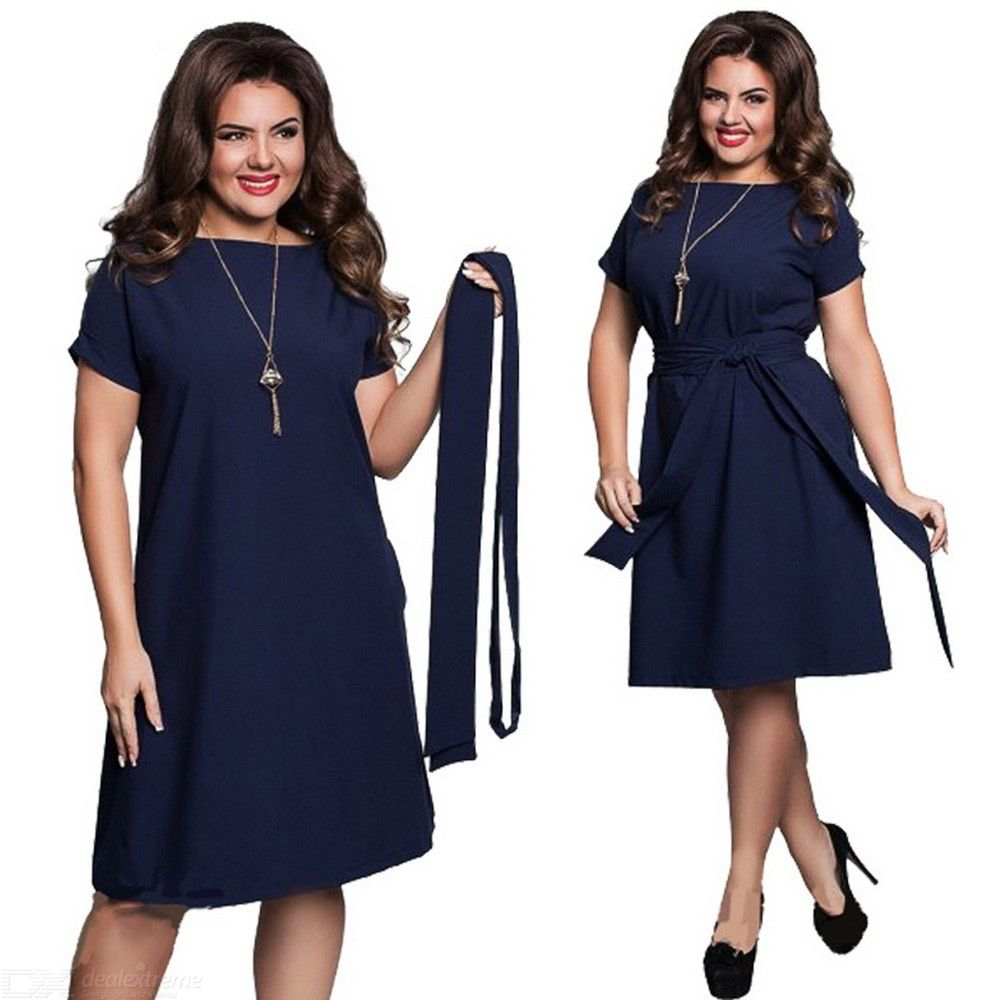 Summer Dress O-Neck Loose Casual Plus Size Dresses With Sashes For Women