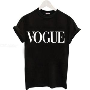 Plus Size Summer T Shirts VOGUE Letter Print Short Sleeve Casual O-Neck Tops For Women