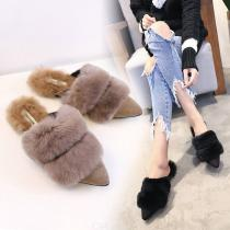 Fur-Double-Belt-Fox-Warm-Plush-Slippers-Rabbit-Hair-Pointed-Toe-Slides-Flats-Hair-Ball-Winter-Loafers