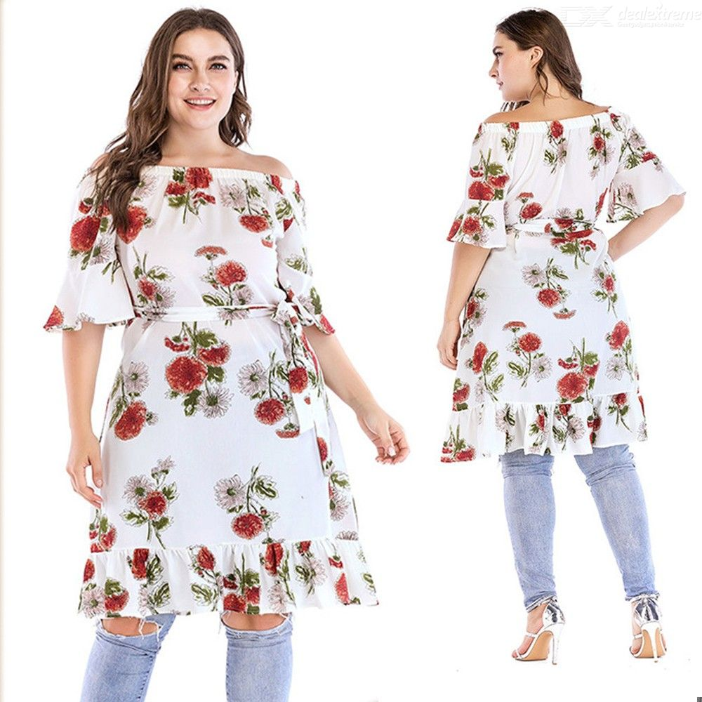 Summer Dress Off Shoulder Chiffon Half Sleeve Floral Print Plus Size Dresses For Women