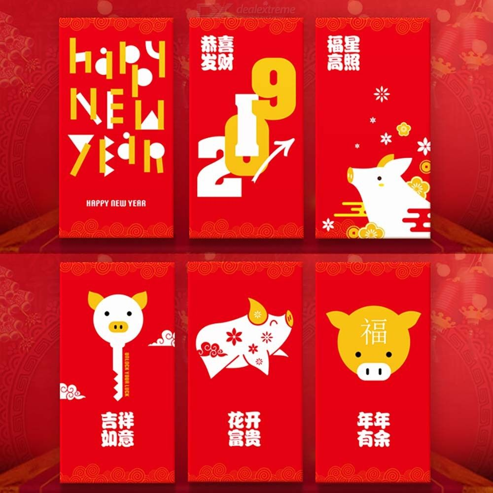 6pcs 2019 Chinese Pig Red Envelopes New Year Spring Festival HongBao Ang Pow Lucky Money Packets