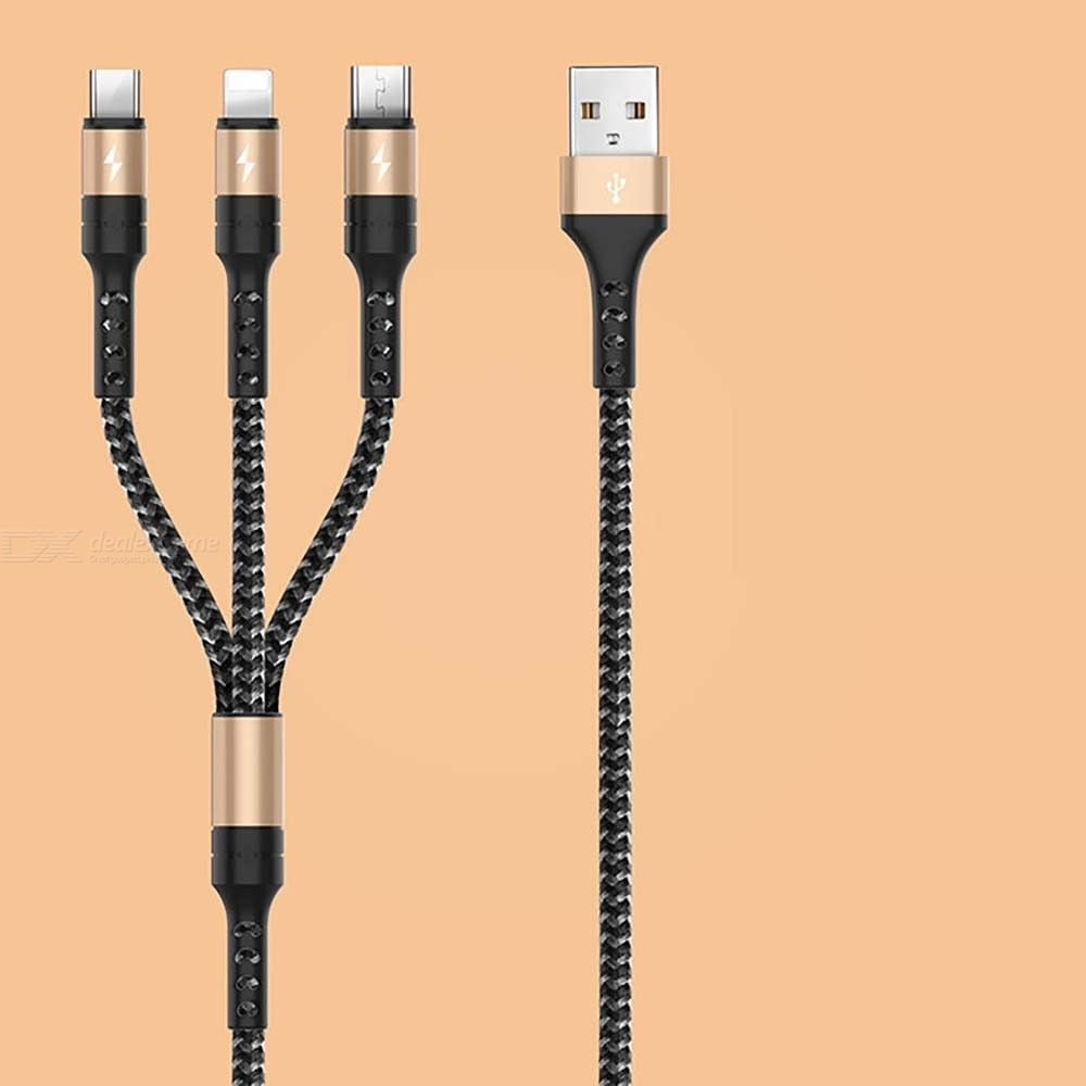 3-in-1 Charge Cord 2.7A Fast Charging Lightning Type C Micro USB Cable