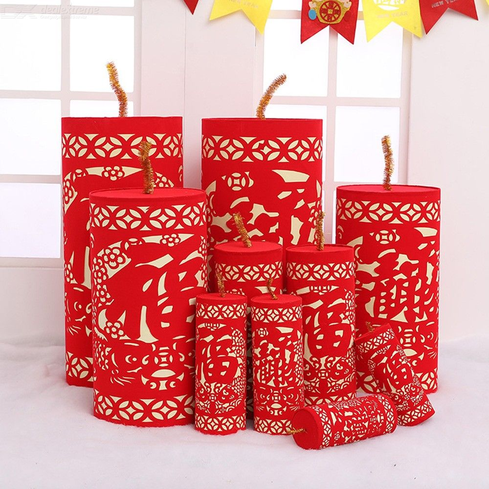 1 Pair Flocking Paper Cutting Firecrackers Festival Decor For Chinese New Year - Classic Style Red