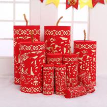 1-Pair-Flocking-Paper-Cutting-Firecrackers-Festival-Decor-For-Chinese-New-Year-Classic-Style-Red