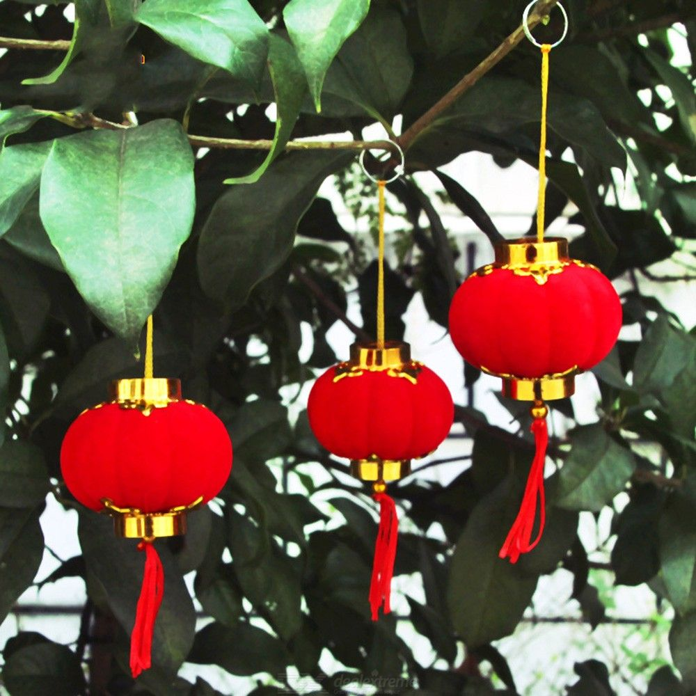Small Flocking Red Lanterns Cute Chinese Lanterns Wedding Party Decor Gift DIY Craft New Year