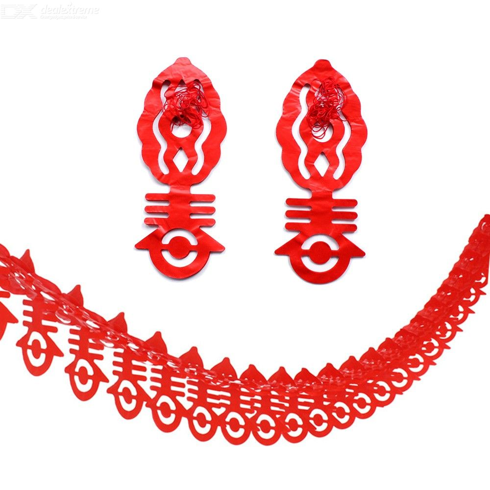 2PCS Happy Chinese New Year Spring Festival Hanging Garland Banner For Home Parties