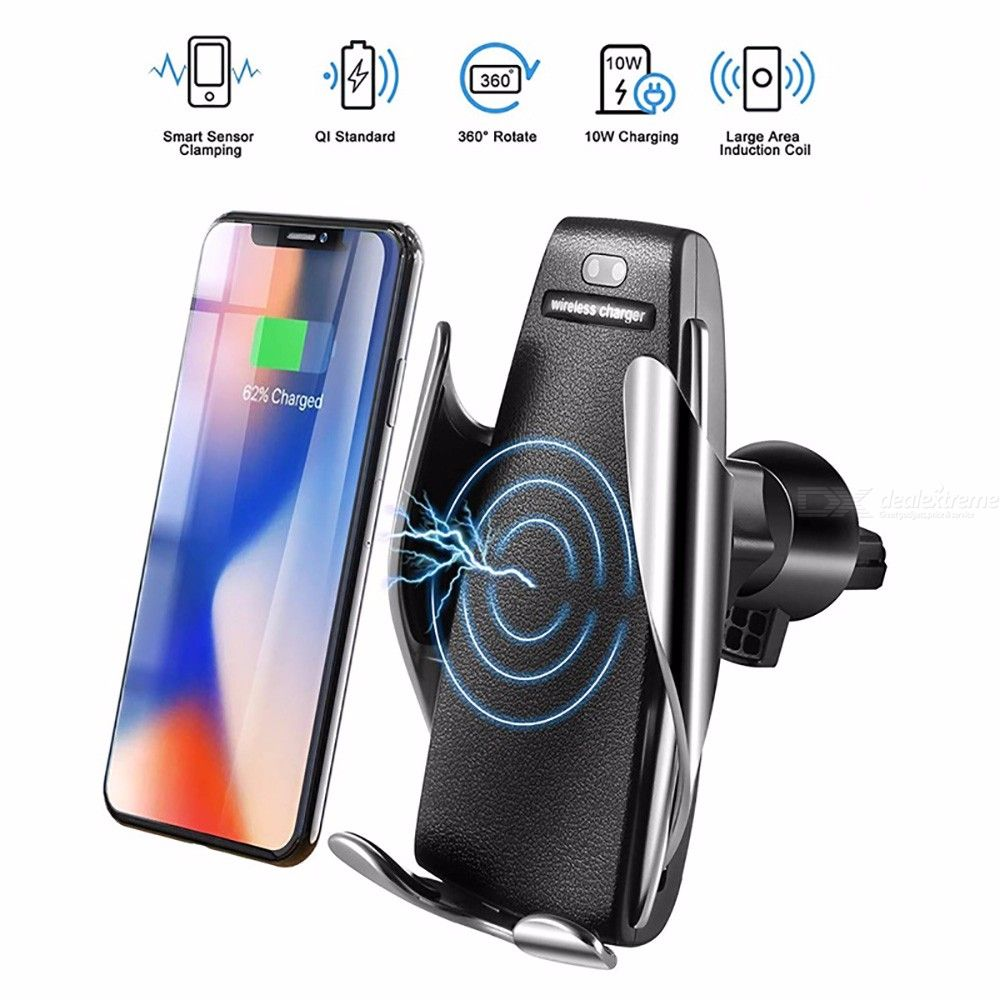 Automatic Clamping Wireless Fast Charging Car Charger Mount Phone Holder for Android IPhone XS Max/8/7 Plus