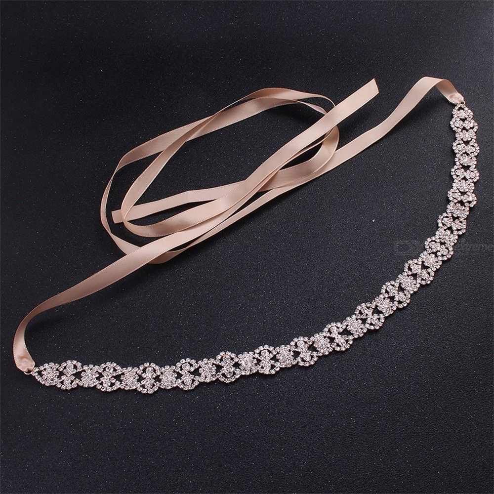 Luxury Crystal Satin Wedding Belts Rhinestone Bridal Dress Accessories Belly Chains For Bride Party Jewelry Sash