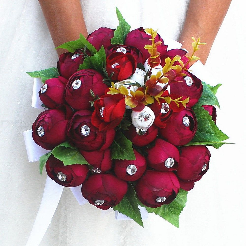Wedding-Romantic-Rose-Deep-Red-Bouquet-For-Bridal-Holding-Flowers-Wedding-Accessories