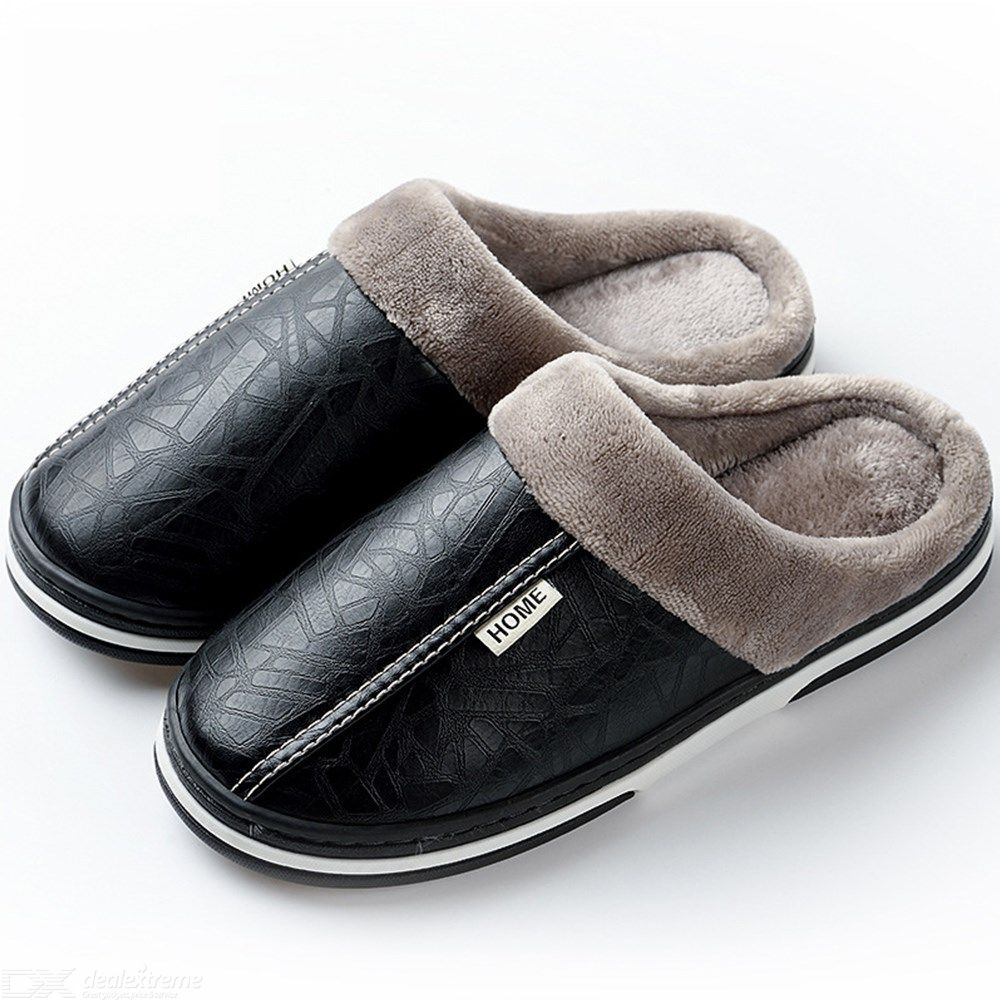Home-Winter-PU-Leather-Plush-Slippers-Plus-Size-Indoor-Warm-Furry-Shoes-For-Men